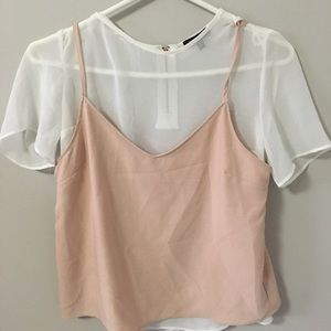 Pink silk blouse with undershirt